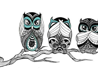 Hear, See, Speak No Evil Owls