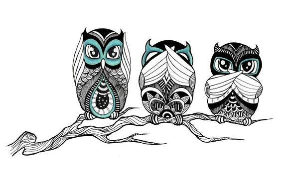 Hear See Speak No Evil Owls