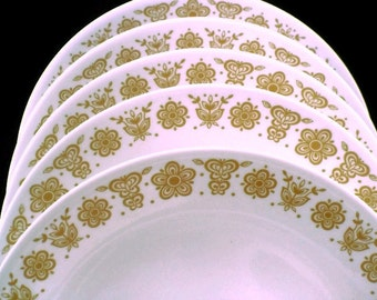 Corelle Dinnerware * Butterfly Gold  * Set of 8 Dinner Plates * Pyrex Compatible