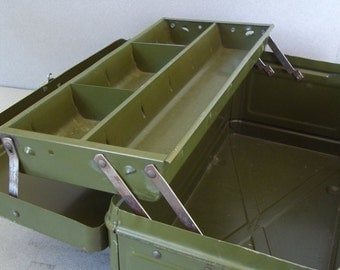 1950s Tool Box - Vintage Tool Box - Industrial - Tools - Climax Tool Box - Climax Tackle Box - Hamilton Metal Products Co - Supply Box