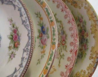Vintage Mismatched China Dessert / Fruit Bowls for Tea Party, Bridal Luncheons, Showers, Hostess Gift, Bridesmaid Gift- Set of 4