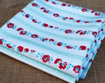 Fat Quarters ~ Penny Rose Fabrics ~ Riley Blake ~ Mint Green Stripe ~ Milk Sugar Flower