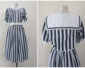 1980s Sailor Dress Nautical Dress Navy Blue White Striped Dress Sailor Collar Midi Dress with Wide White Belt S / M