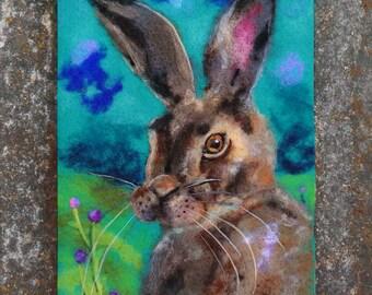 Wool Painting, Needle Felted Art, Felt Painting, Hare Art, Hare Painting, Hare Portrait, Whimsical Art, Fiber Art, Textile, Nursery Decor