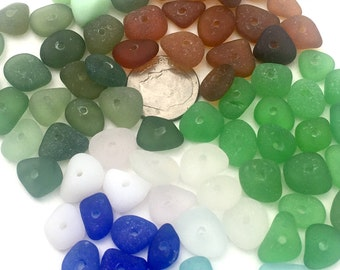 Genuine, Center Drilled, Sea Beach Glass Beads, Seaglass Jewelry Supplies, Real, 80, 8mm to 12mm