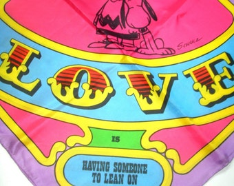 Vintage 1968 PEANUTS GaNG LOVE IS SiLK ScARF ChARLIE BrOWN SnOOPY LuCY Schroeder LiNUS SaLLY ScHULZ VaLENTINE Mint in Box New Old Stock NoS