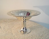 Silver Plate Compote. Elegant footed silver plate fruit bowl, silver centerpiece,Silver compote with Modern lines ,collectiblesilver dish