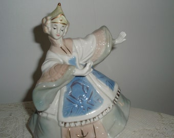 Asian Dancer, Porcelain Figurine in muted hues of blues,grey,green trimmed in gold, 6 in Collectible statue
