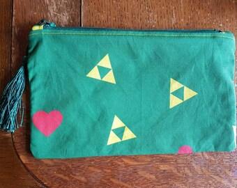 Legend of Zelda inspired zipped pouch