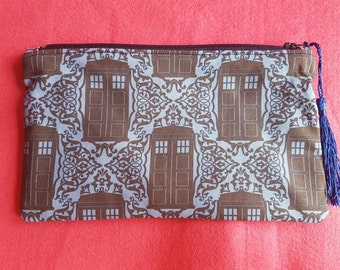 Doctor Who inspired Tardis gates zipped pouch