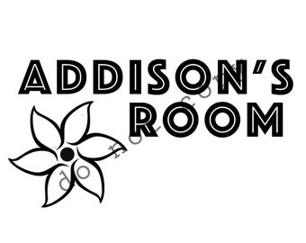 Custom room decal with your choice of name and image theme
