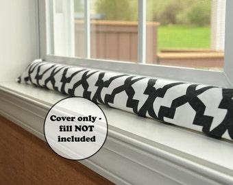 extra long draft dodger door stopper sleeve - black and white quatrefoil cover - wind noise light blocker - draught excluder - window snake