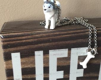Genuine Lego Husky & Bone Necklace