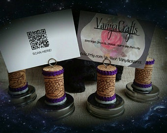 Upcycled wine Cork place card or photo holders. Set of 4. Purple and silver.