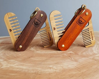 personalized wood beard comb handmade folding beard. Black Bedroom Furniture Sets. Home Design Ideas