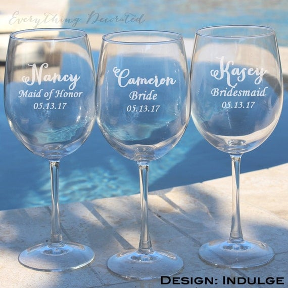 ... Wine Glasses, Wedding Toasting Glasses, Etched Red Wine Glass, Gift