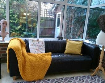 Knitted mustard blanket afghan