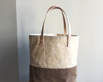 Waxed Canvas Tote - Cream/Brown