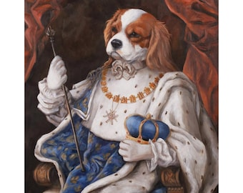 King Charles Spaniel Canvas Print, Murphy, Blenheim, Dogs In Costumes