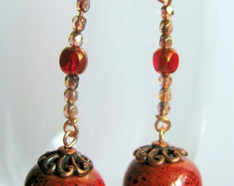 Original, hand made, one of a kind, dangle earrings with ceramic beads  051