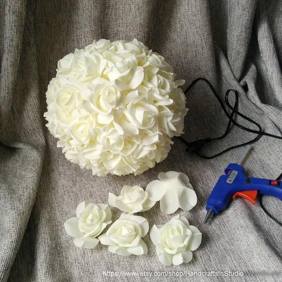 Ivory Flower Ball: Ivory Flower Ball Kissing Ball 9 Inch Pomanders Foam Flower