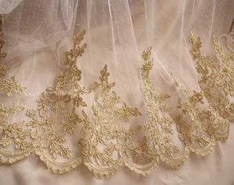 gold alencon lace trim, gold cord lace trim, bridal lace trim with retro flowers