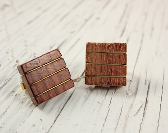 Vintage Wood and Gold Tone Wire Wrap Square Clip Earrings (retro 50s 60s boho geometric small little light brown natural)