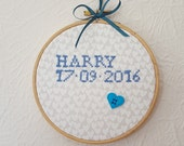 Baby Name Hoop Art. Custom Listing, Any Name And Date. Birth Announcement. New Mum Gift. 5 inch Hoop Art. Wall Hanging.