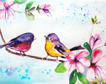 Original watercolor painting Love is in the air