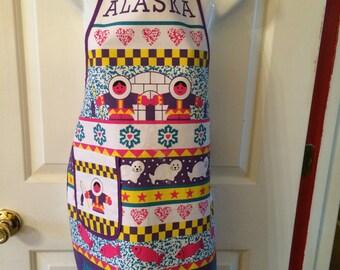 Bib Apron with Alaska Designs Eskimos, Polar Bears, Salmon