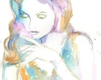 "ON SALE Original Watercolor Painting, Portrait of Woman, Serenity by Jessica Buhman, 9"" x 12"" Fashion Illustration"