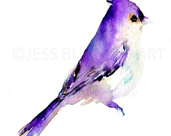 Bird Watercolor Painting Print, Print of Bird, Bird Painting, Purple Bird Painting, Bird Illustration, Abstract Bird Art, Animal Painting