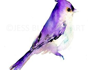 Bird Watercolor Painting Print, Print of Bird, Bird Painting, Purple Bird Painting, Bird Illustration, Abstract Bird Art, Animal Painting