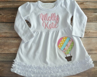 Hot air balloon personalized applique ruffle dress