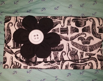 Black and White Mustache Flower Clutch