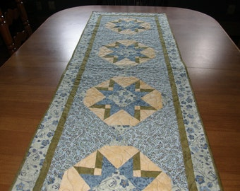 Long Blue Quilted Table Runner, Blue Patchwork Table Runner, Blue Quilted Bed Runner, Blue Green Yellow Table Runner,  Quiltsy Handmade