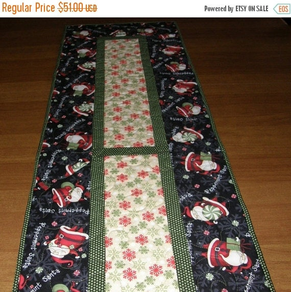 Christmas in July Sale Christmas Santa Quilted Table Runner, Quiltsy Handmade, Red Table Topper, Holiday Quilted Table Runner, Christmas Dec