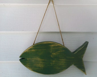 Distressed nautical wooden fish / beach decor / nautical decor