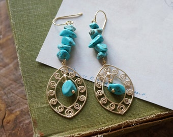 Turquoise Chip Spiral Earrings, Turquoise Blue Gypsy Earrings, Gypsy Moonchild Gift For Her, Earrings