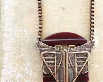Butterfly on Vintage Buckle Slide