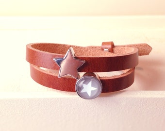 Cuoio leather bracelet star