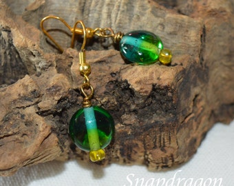 Two tone lentil glass bead earrings green to blue