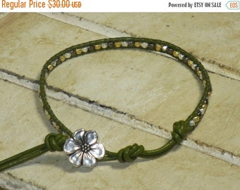 ON SALE Silver, Gold and Black Vermeil Nugget Bead Leather Wrap Bracelet