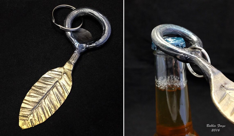 leaf bottle opener key ring forged steel large. Black Bedroom Furniture Sets. Home Design Ideas