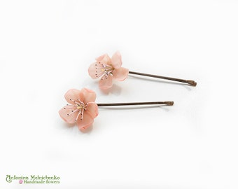 Hair grip Peach Sakura Blossom - Polymer Clay Flowers