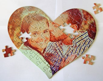 Custom Personalized Heart Puzzle Pieces / Heart Shape Puzzles Photo Transfer / Loving Couple Gift Love Present Picture + Free Decal Gift!