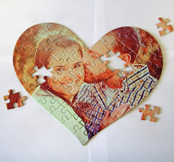 custom personalized heart puzzle pieces    heart shape puzzles