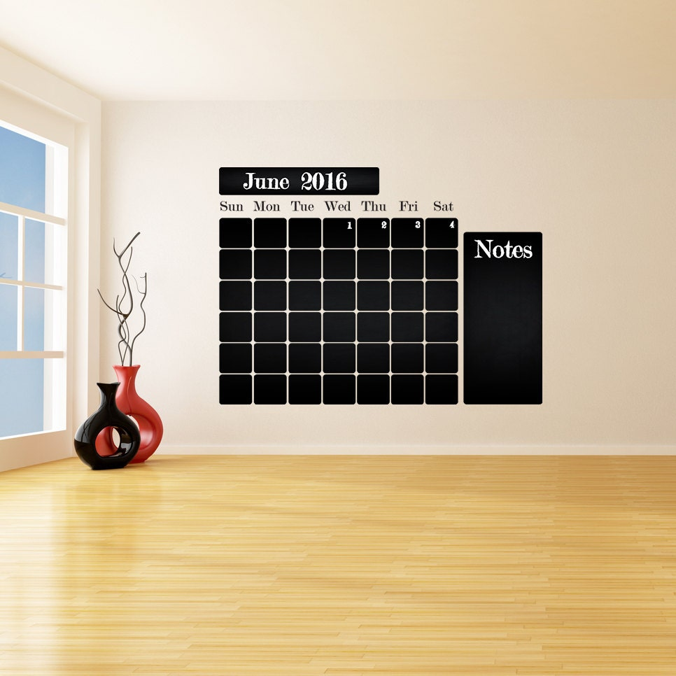 chalkboard vinyl wall decal calendar with notes blackboard zoom