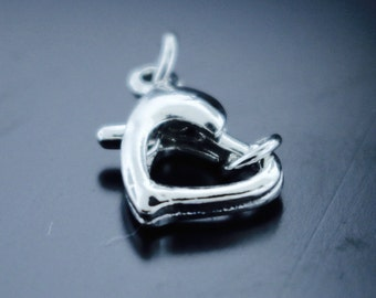 5 Pieces Silver Open Heart Clasps with Jump Rings