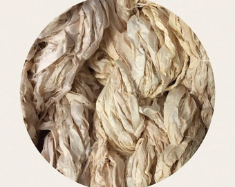Recycled Sari Ribbon Art Yarn Ethically Sourced Fair Trade Ivory/Off White